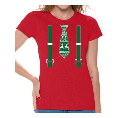Awkward Styles Tie and Suspenders Christmas Shirt Xmas Reindeer Tie Christmas T Shirts for Women Tie and Suspenders Christmas Costume Shirt for Women Funny Tacky Party Holiday Top Christmas Gift Idea
