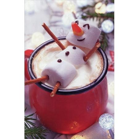 American Greetings Marshmallow Snowman in Hot Cocoa Cute Christmas Card (Marshmallow Christmas Treats)