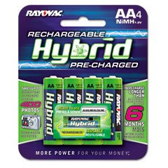 Rayovac Rechargeable Hybrid Pre-charged AA Nimh Batteries 4 Pack