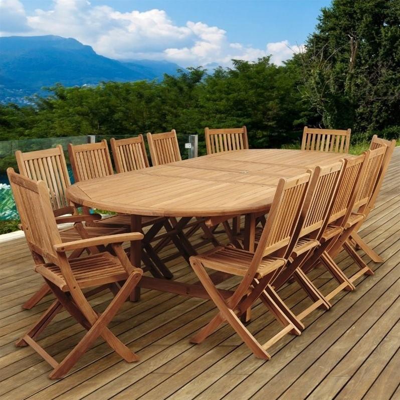 International Home Amazonia Teak 13 Piece Extendable Patio Dining Room Set by International Home Miami Corp