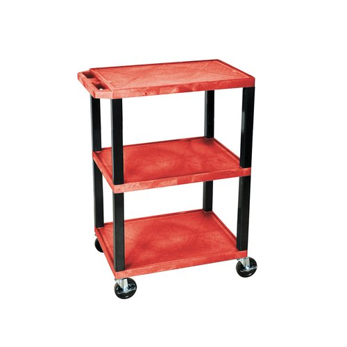 H. Wilson Tuffy 3-Shelf Utility Cart, Red Shelves and Black Legs