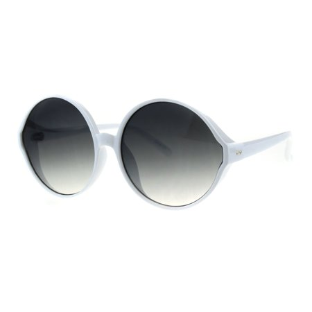 Womens Round Circle Lens Wizard Mod Plastic Minimal Sunglasses White Smoke - Mod Sunglasses