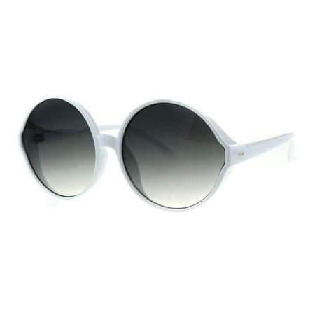 Womens Round Circle Lens Wizard Mod Plastic Minimal Sunglasses White Smoke ()