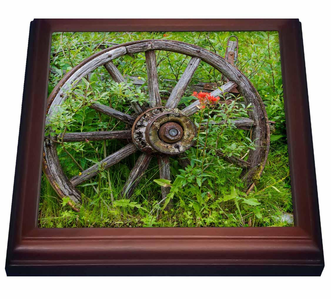 3dRose Old wagon wheel in historic Barkersville, British Columbia, Canada., Trivet with Ceramic Tile, 8 by 8-inch