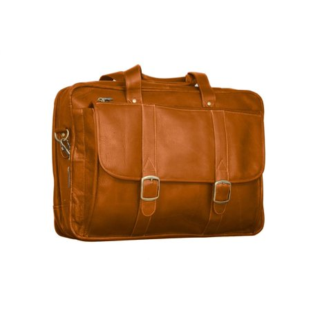 Expandable Laptop Leather Briefcase in Tan