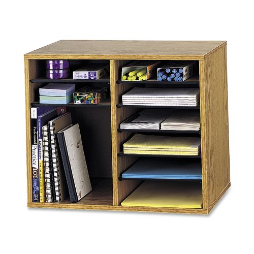 "Safco Adjustable 12-compt. Literature Organizer - 16"" Height X 19.5"" Width X 12"" Depth - 12 Compartment[s] - Wood - Medium Oak (9420MO)"