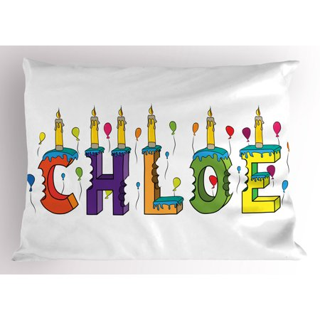 Chloe Pillow Sham Lettering with Cheerful Bitten Cake Candles Girly Birthday Party Design First Name, Decorative Standard Queen Size Printed Pillowcase, 30 X 20 Inches, Multicolor, by Ambesonne