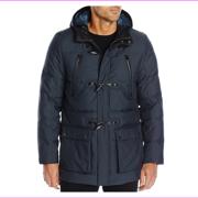$298 Calvin Klein Men's Padded Toggle Jacket, Officer Navy, Size XL