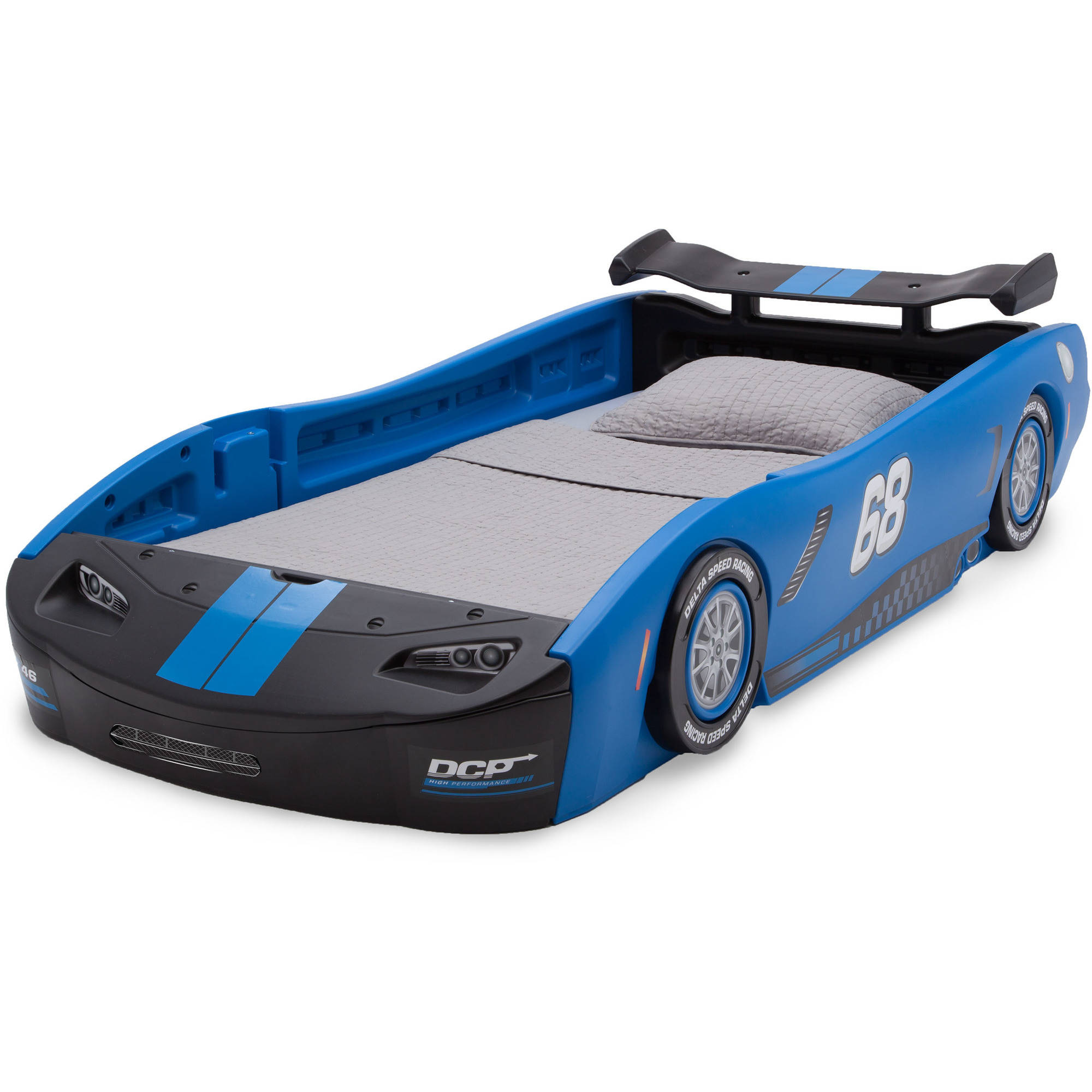 Delta children turbo race car twin bed blue