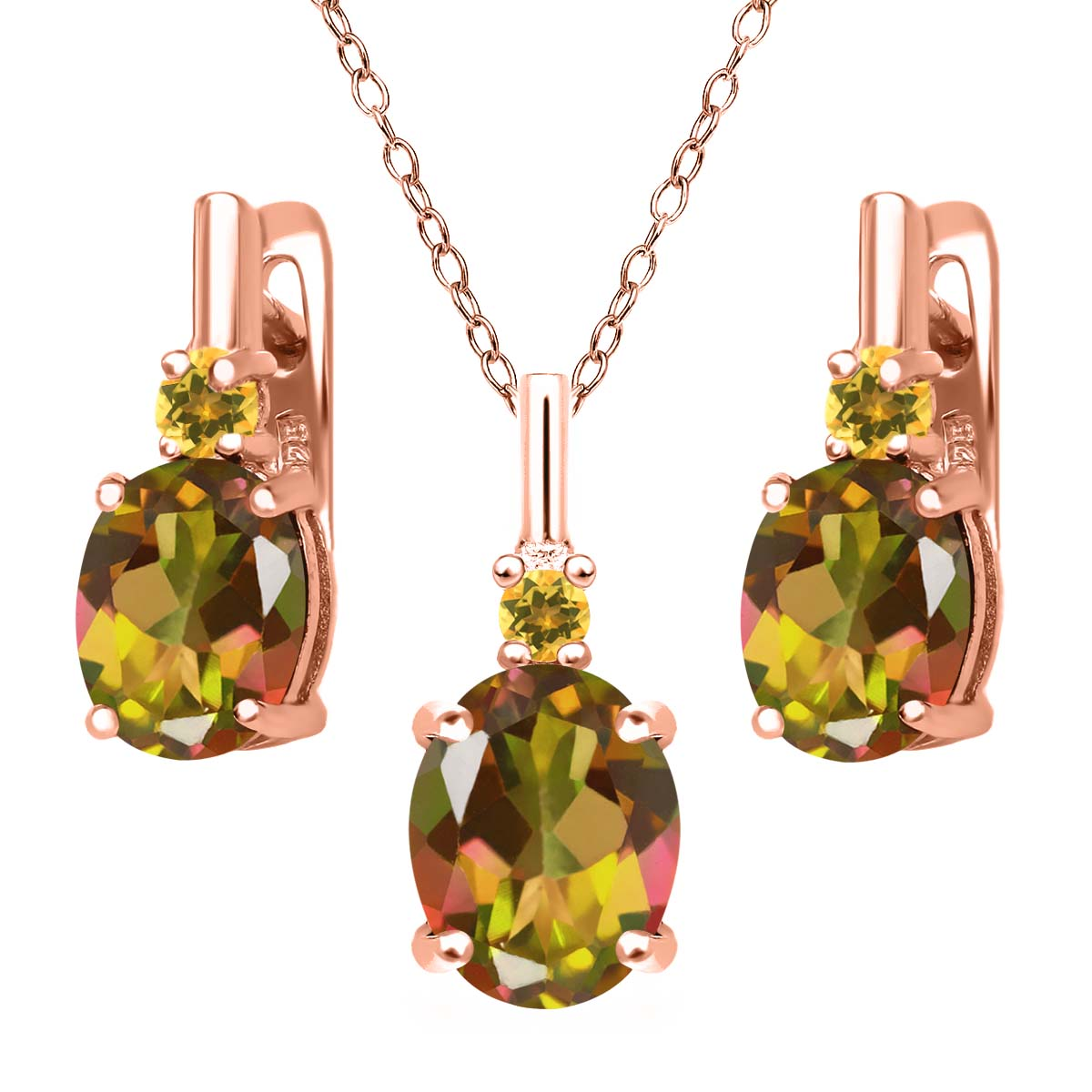 Mystic Topaz Simulated Citrine 18K Rose Gold Plated Silver Pendant Earrings Set by