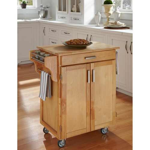 Home Styles Cuisine Kitchen Cart, Natural with Wood Top