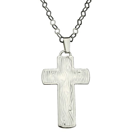 Sterling Silver Embossed Large Cross Pendant Flat Chain Necklace Italy, -