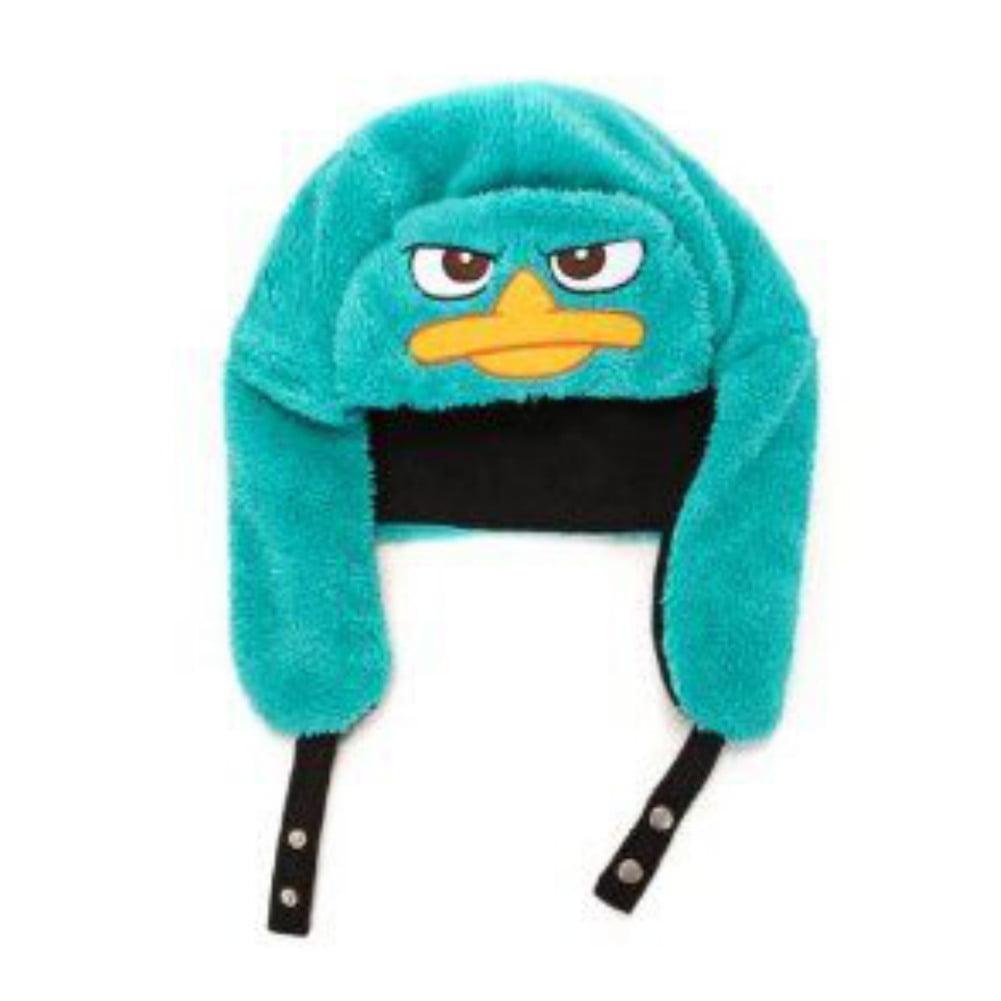 Disney Mens Phineas & Ferb Plush Blue Aviator Trapper Hat