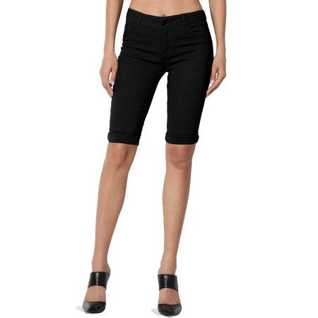 TheMogan Junior's S~3X Timeless Bi-Stretch Mid Rise Cuffed Bermuda Long Biker Shorts