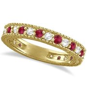 14k Gold 1 1/10ct Diamond & Ruby Anniversary Ring Band (G-H, SI1-SI2) 14k Yellow Gold - Size 10