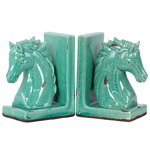 Alluring Go Green Horse Bookend by Benzara
