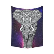 PHFZK Universe Wall Art Home Decor, Colorful Galaxy Elephant in Deep Outer Space Tapestry Wall Hanging 60 X 80 Inches