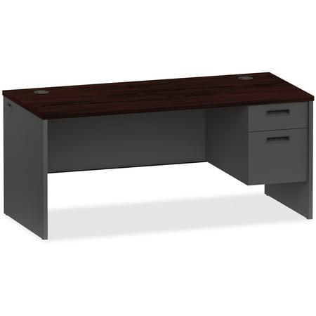 Lorell, LLR97105, Mahogany/Charcoal Pedestal Desk, 1 Each