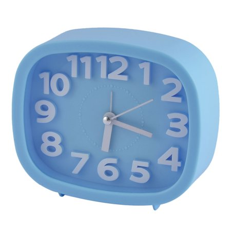 Household Office Desktop Plastic Oval Silent Battery Powered Arabic Number Alarm Clock Blue ()