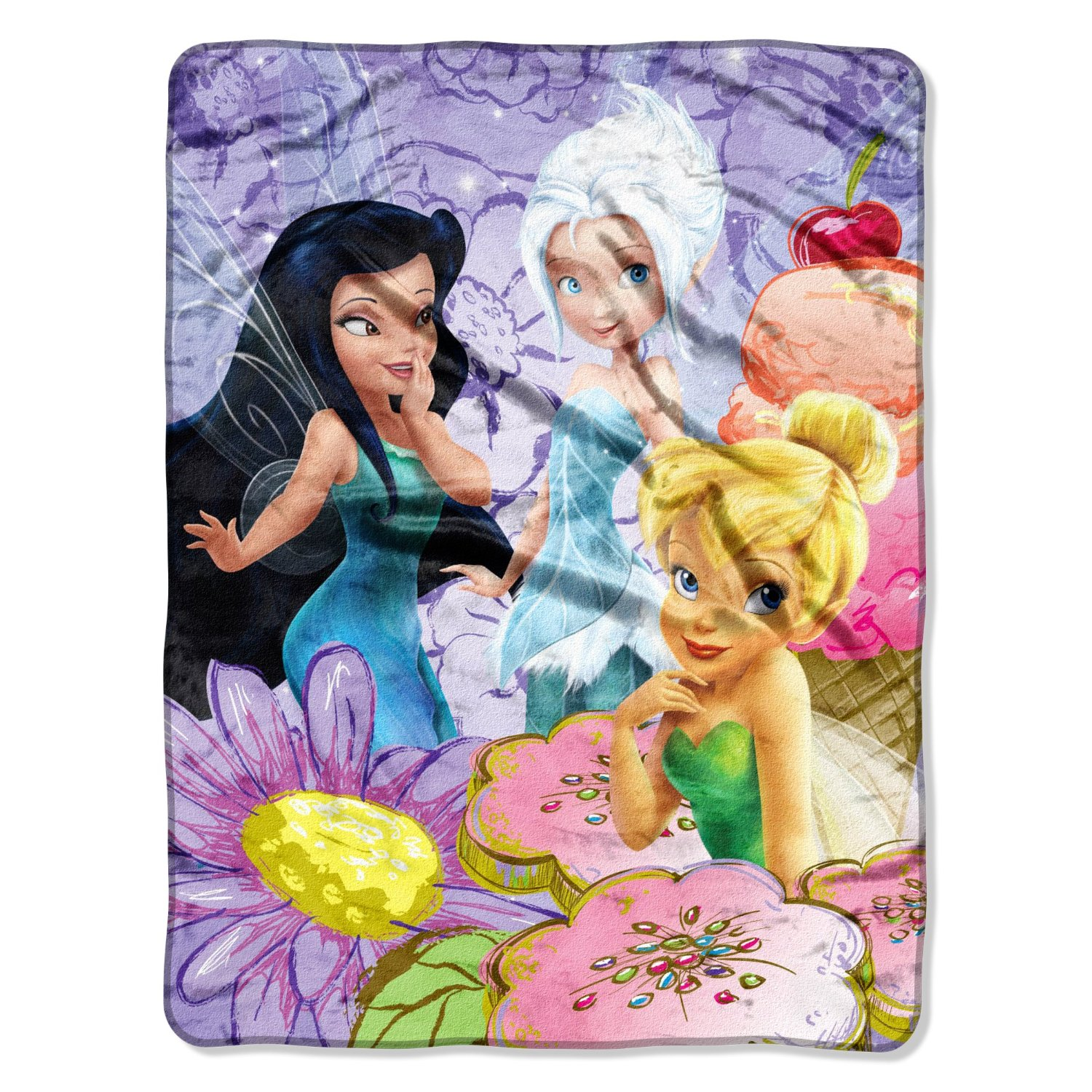 "Micro Raschel Throws - Disney - Tinkerbell - Fairies Treats New 46x60"" Blanket"