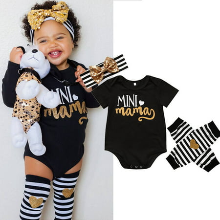 Mama's Mini Newborn Infant Baby Girl Romper+Leg Warmer+Headband Clothes - Showgirl Outfit