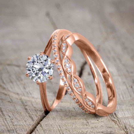 Moissanite Round Jewelry Set (1.50 Carat Round cut Moissanite and Diamond Trio Wedding Ring Set for Women in Rose Gold )