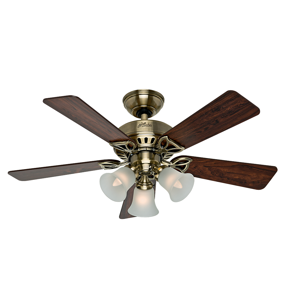 "Hunter Fan Company 53078 The Beacon Hill 42"" Ceiling Fan with 5 Rosewood/Medium Oak Blades and Light Kit, Antique Brass"