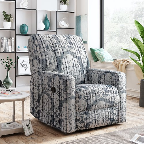 Recliner Chair with Padded Seat - 360° Swivel and Rocking Accent Chair - Manual Bedroom & Living Room Reclining Sofa