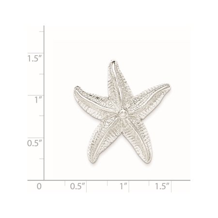925 Sterling Silver Polished & Textured Star Fish Chain Slide Pendant / Charm - image 1 of 2