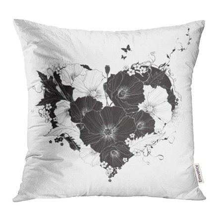 ARHOME Flower Abstract Floral Heart Black and White Poppy Silhouette Sketch Rose Swirl Cute Pillow Case Pillow Cover 16x16 inch Throw Pillow Covers](Black And White Swirl)