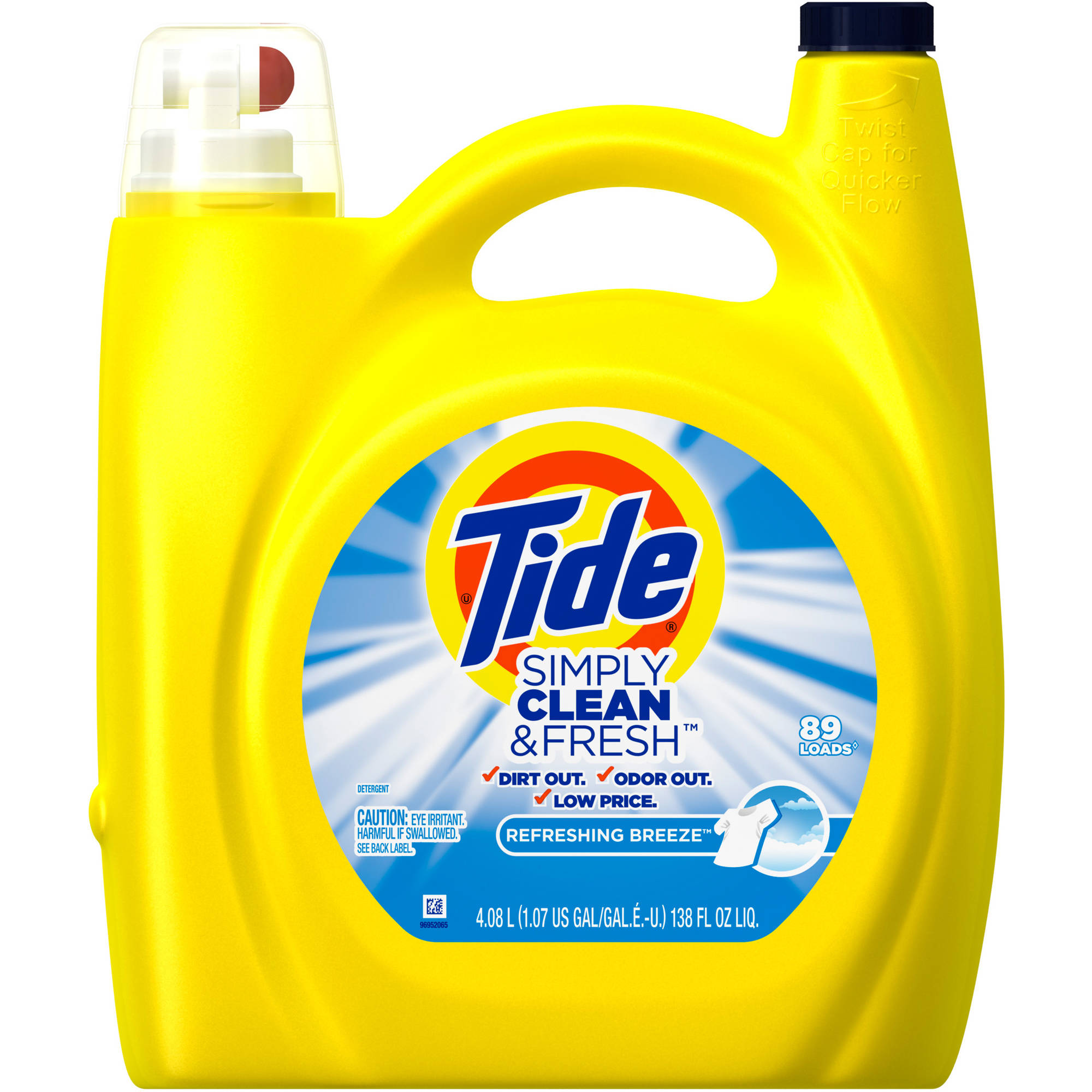 Tide Simply Clean & Fresh HE Liquid Laundry Detergent, Refreshing Breeze Scent, 89 loads, 138 oz