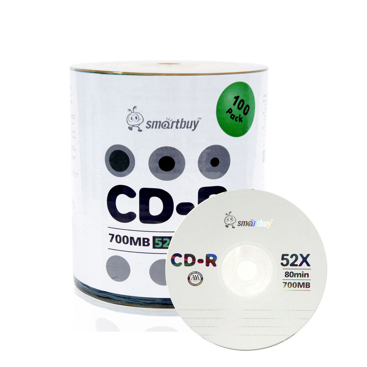 100 Pack Smartbuy 52X CD-R 700MB 80Min Logo (Non-Printable) Data Blank Media Recordable Disc