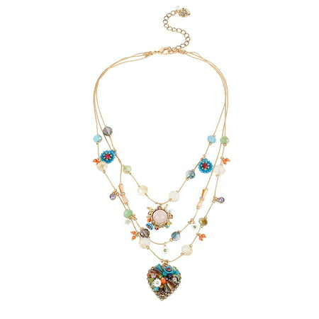 Weave and Sew Woven Mixed Multi-Colored Bead and Flower Heart Illusion Necklace (Home Made Jewlery)