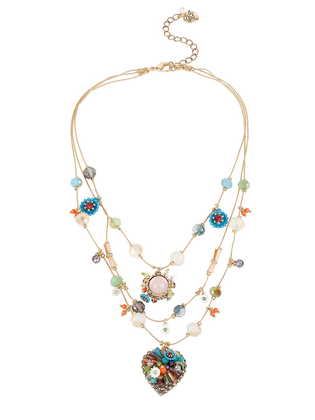 Weave and Sew Woven Mixed Multi-Colored Bead and Flower Heart Illusion Necklace