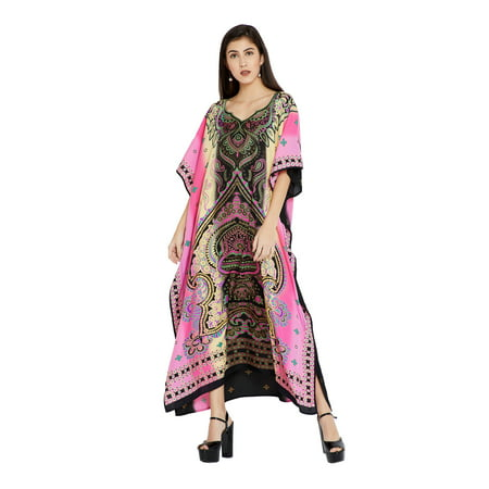 Pink Caftans for Women Floral Plus Size Kaftan Dresses for Women Ladies Plus Size Kaftan Full Length Free Size Long Women Dress Online by Oussum