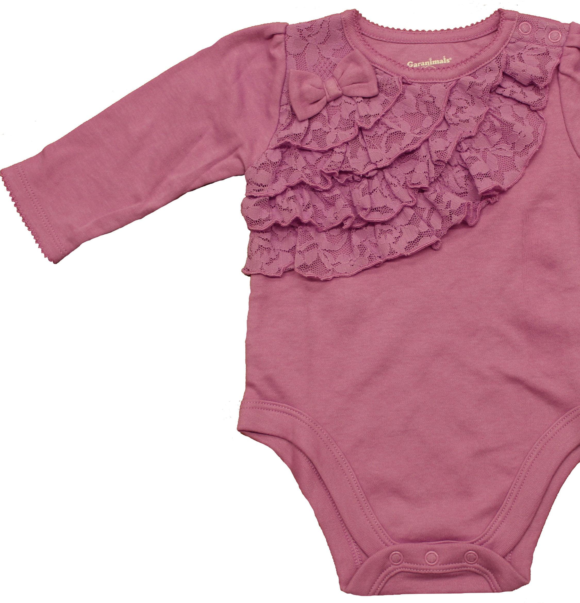 e43cd2b4d Garanimals - Baby Girl Long Sleeve Lace Ruffle Bodysuit - Walmart.com