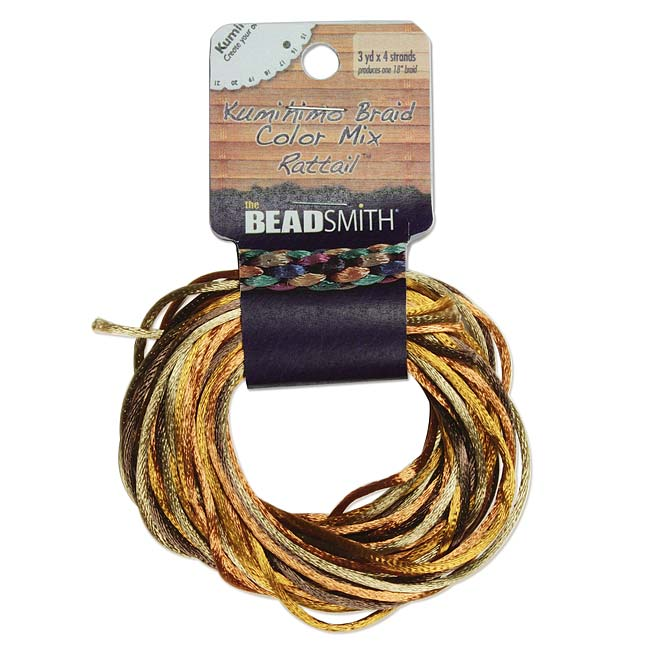 Satin Rattail Braiding Cord 1mm Wheatberry Mix 4 Colors - 3 Yds Each