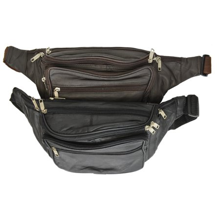 New Design Large Multi Zippered Genuine Leather Fanny Pack Waist Bag 041 (C) Brown ()