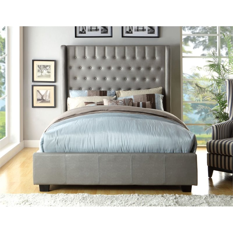 Furniture of America Elm California King Upholstered Bed in Silver by Furniture of America