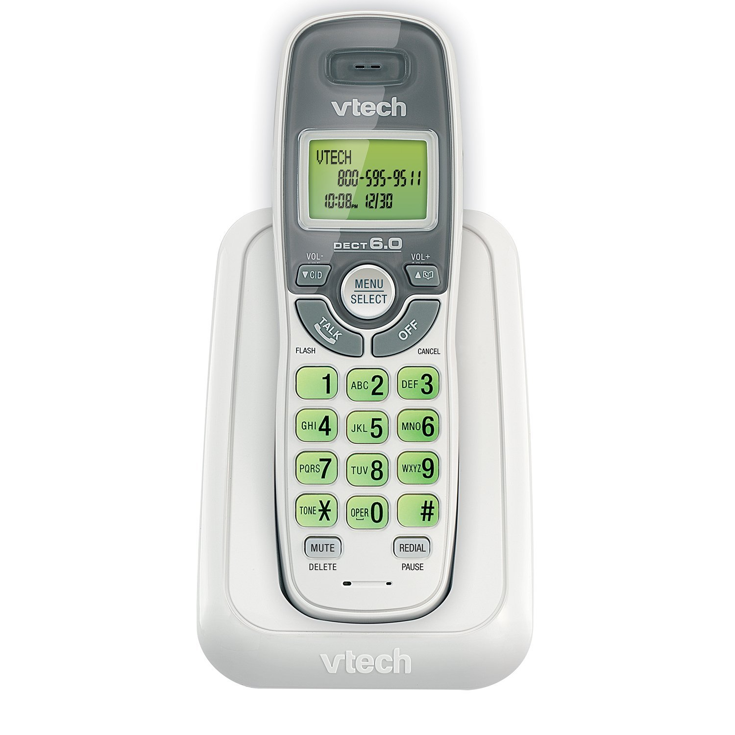 CS6114 DECT 6.0 Cordless Phone with Caller ID/Call Waiting, White/Grey with 1 Handset, DECT 6.0 Digital technology, Caller ID/Call Waiting, Backlit keypad and.., By VTech
