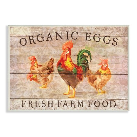 Organic Women Art (The Stupell Home Decor Collection Organic Eggs Farm Chickens And Roosters Planked Look Wall Plaque Art, 10 x 0.5 x 15 )