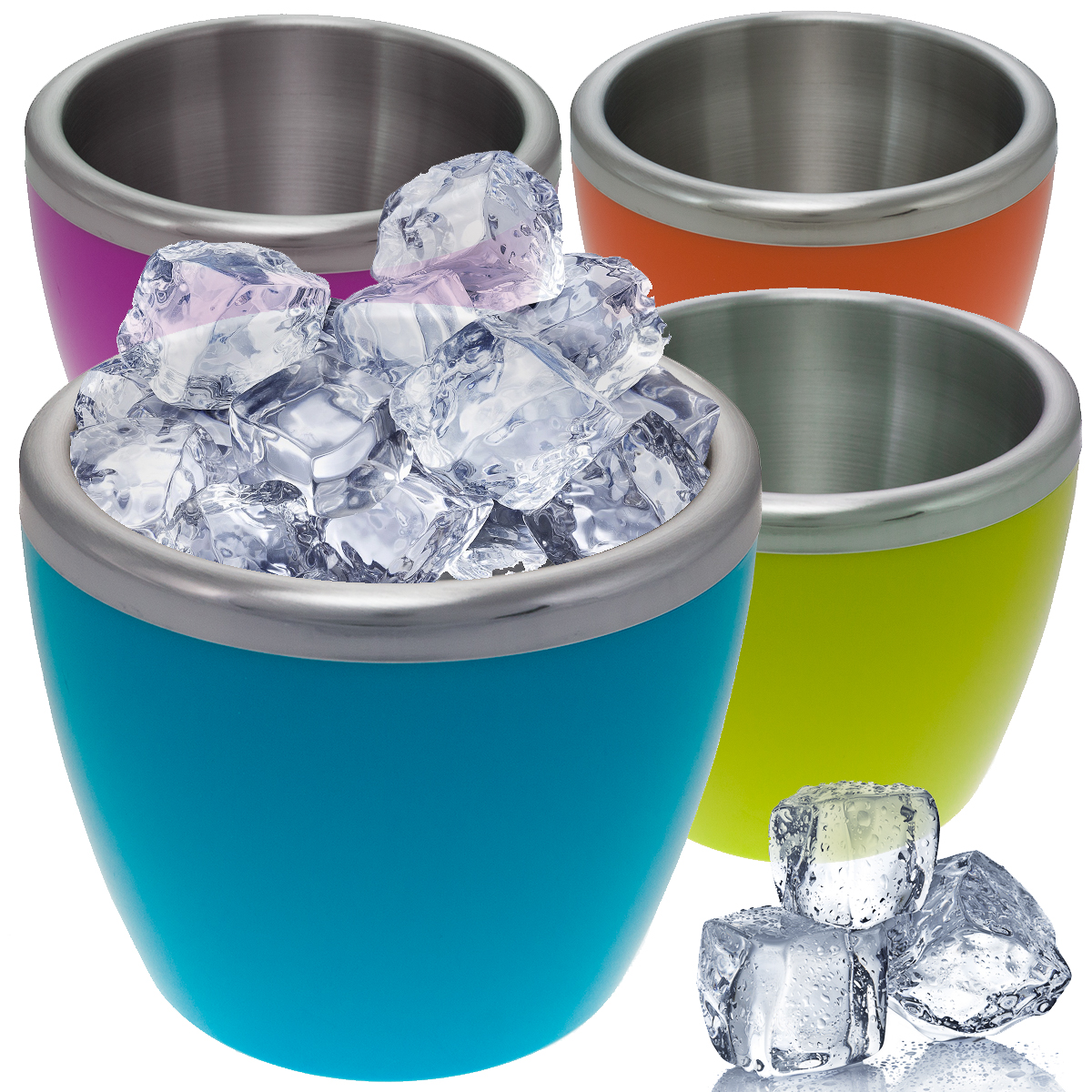 4 Mini Double Wall Stainless Steel Insulated Ice Bucket Pink Green Blue Orange by