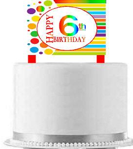 CakeSupplyShop Item#AE-006 Happy 6th Birthday Rainbow Elegant Cake Decoration Topper