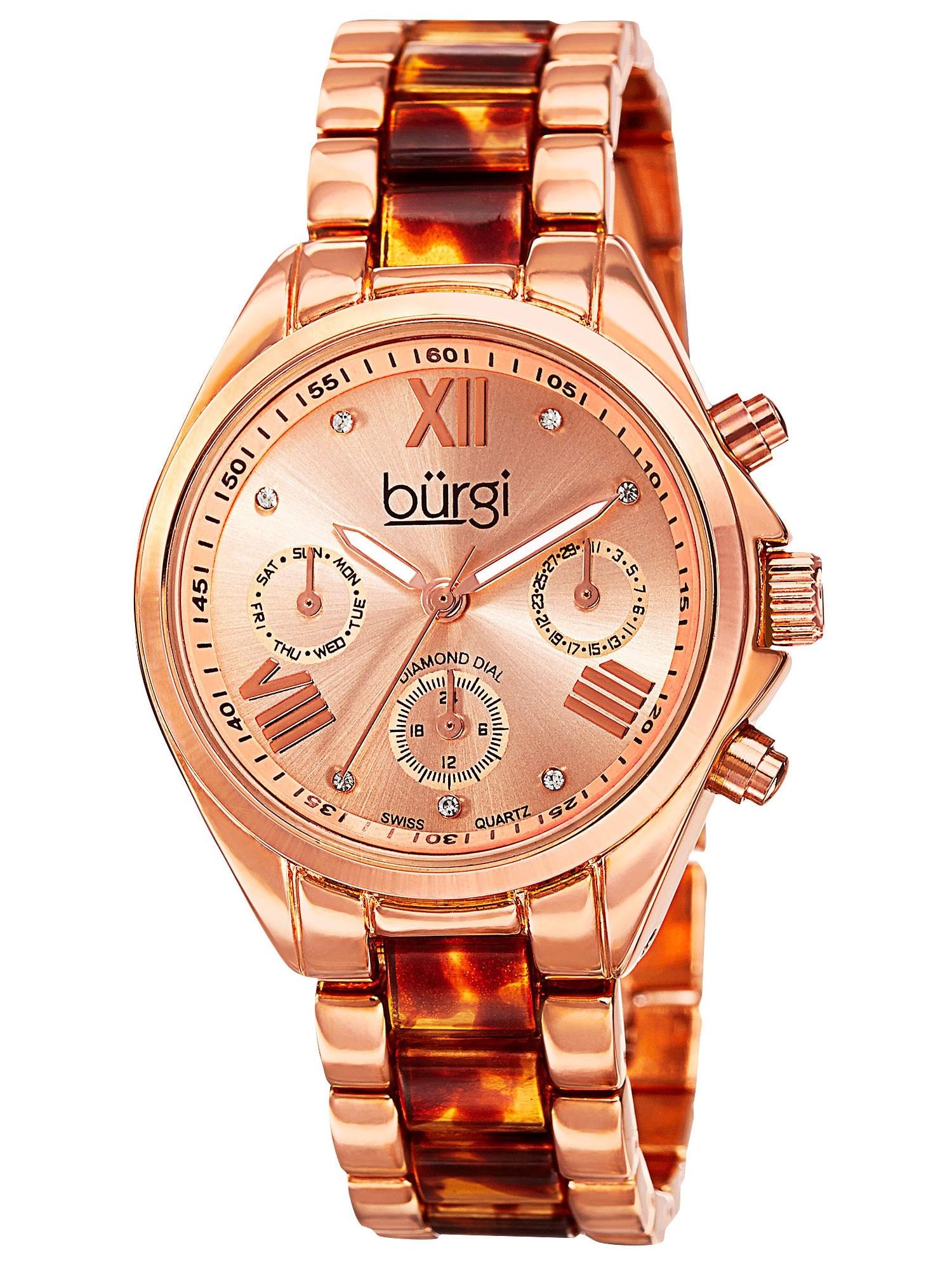 Women's Swiss Quartz Diamond Multifunction Dual-Time Bracelet Watch with FREE Bangle
