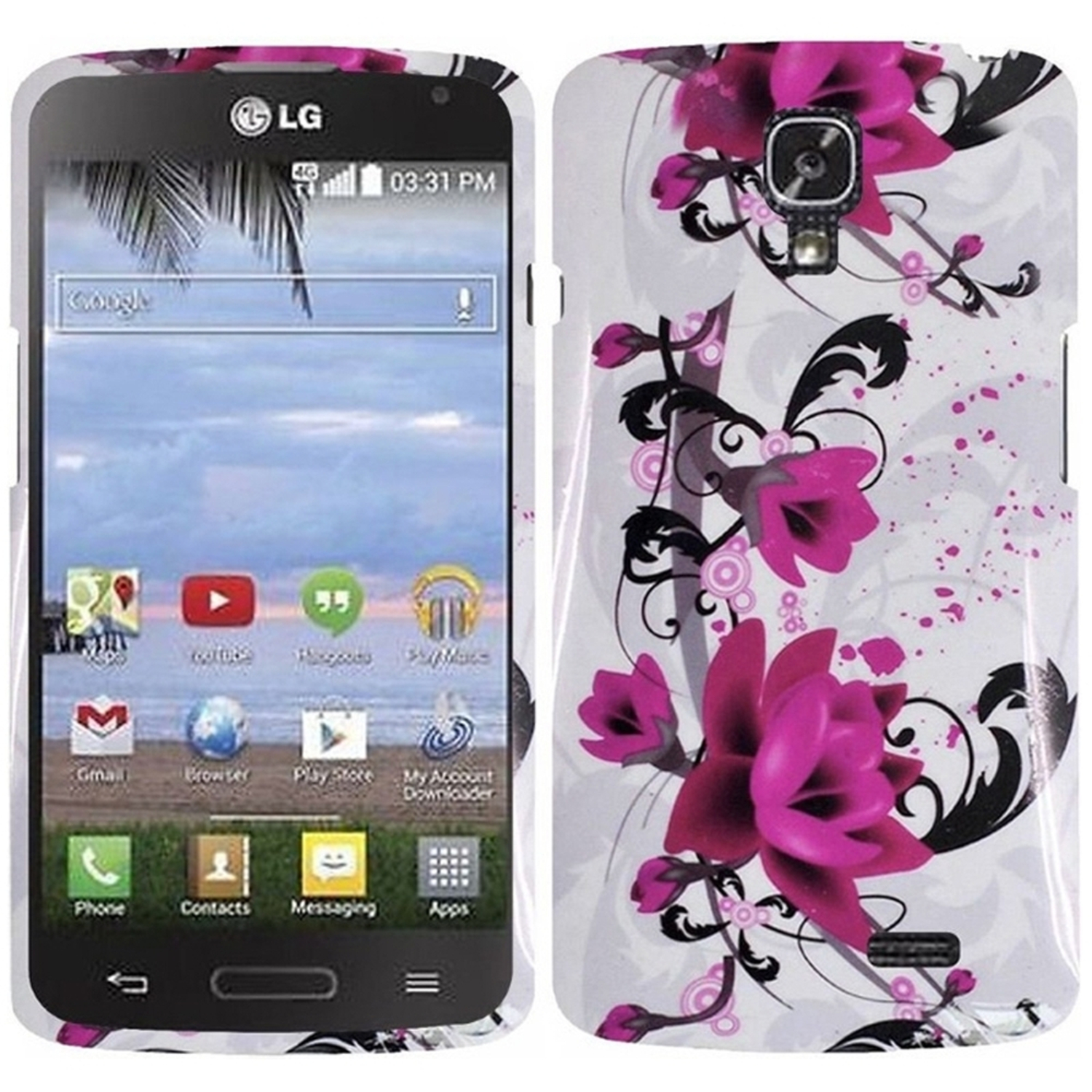Insten Lily Hard Rubberized Cover Case For LG F70 D315 - White/Purple