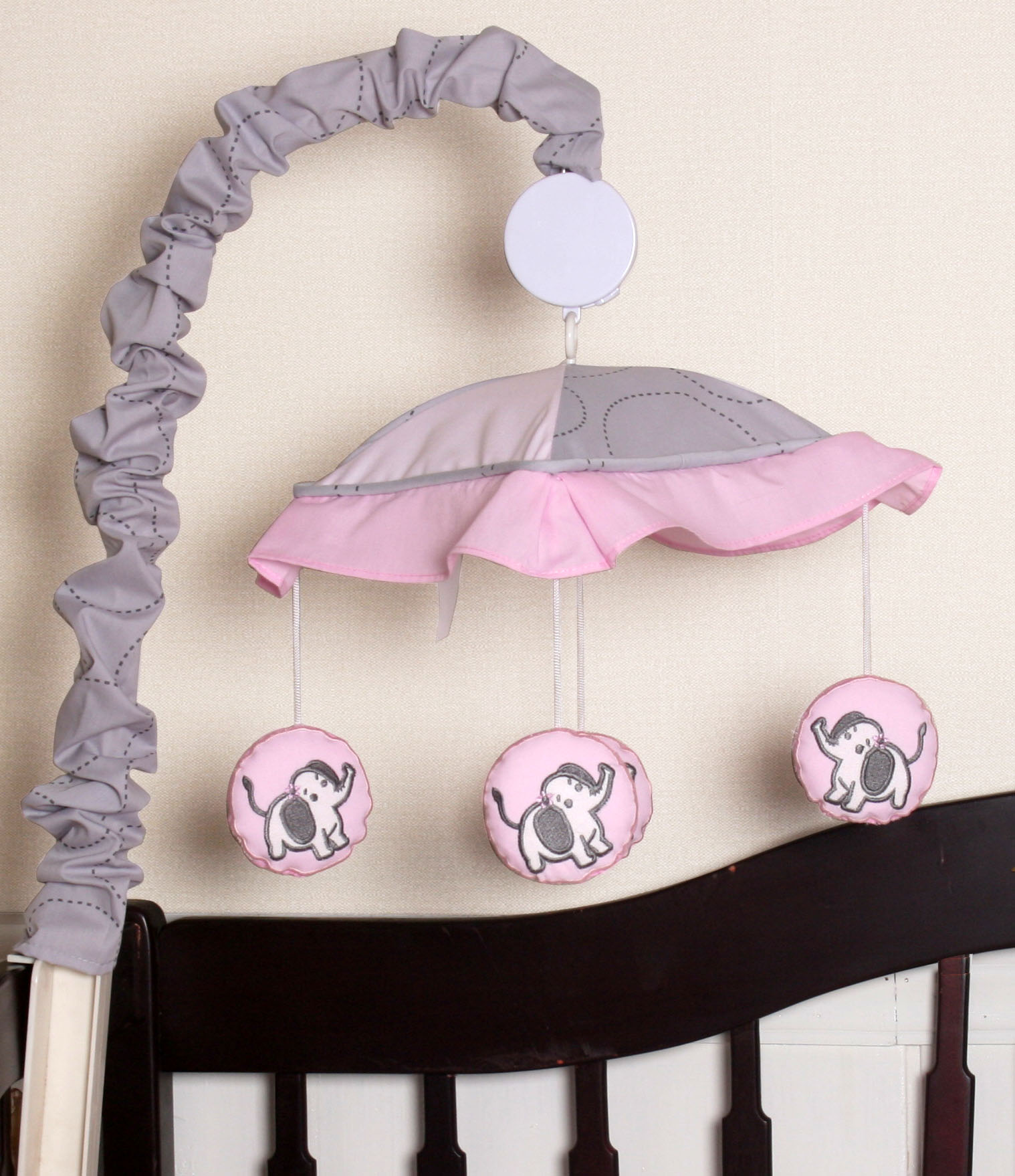GEENNY Musical Mobile, Pink Gray Elephant by GEENNY
