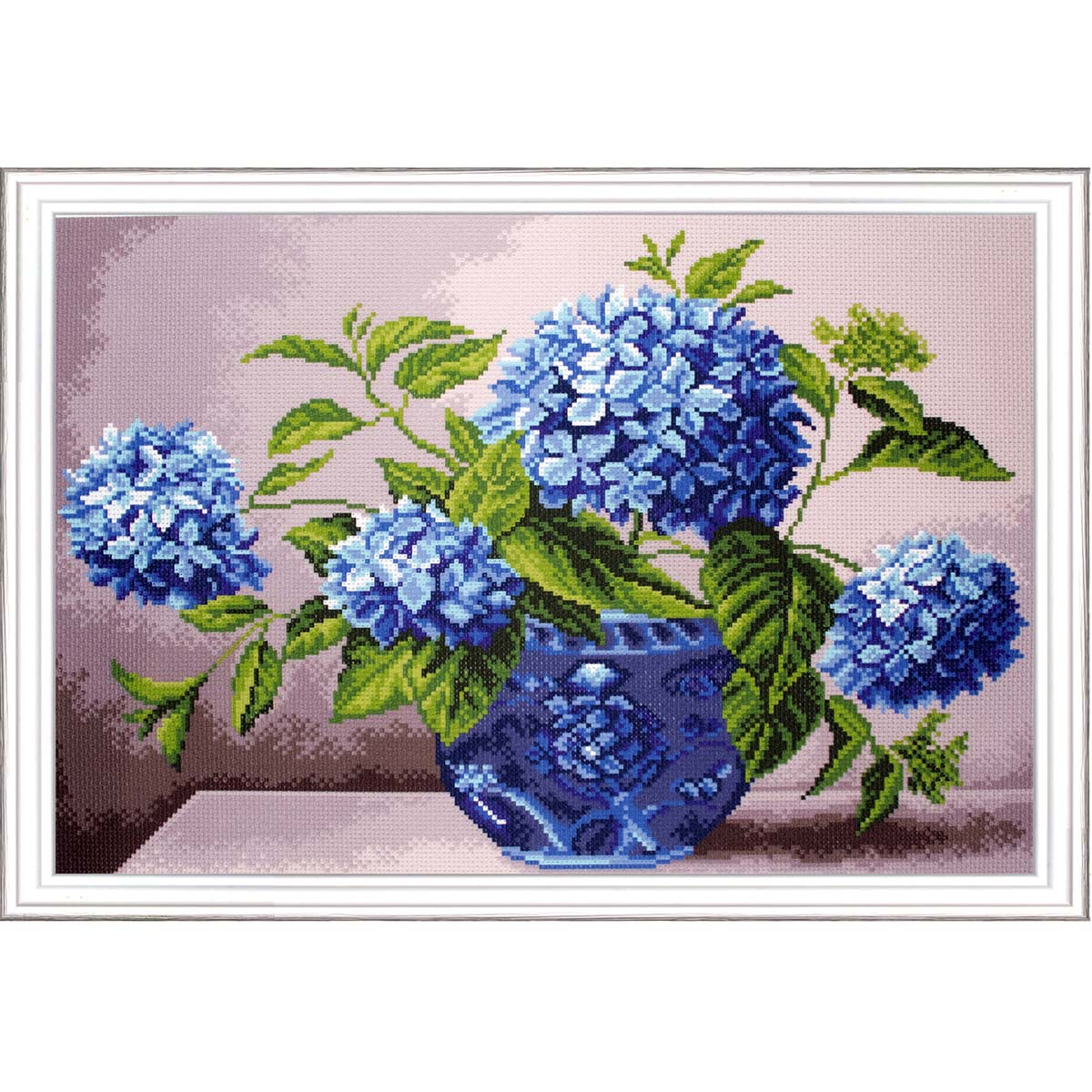Collection D'Art Hydrangea in Vase Stamped Cross-Stitch Kit