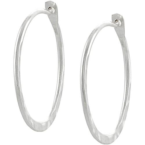 Brinley Co. Sterling Silver 23mm Hammered Hoop Earrings