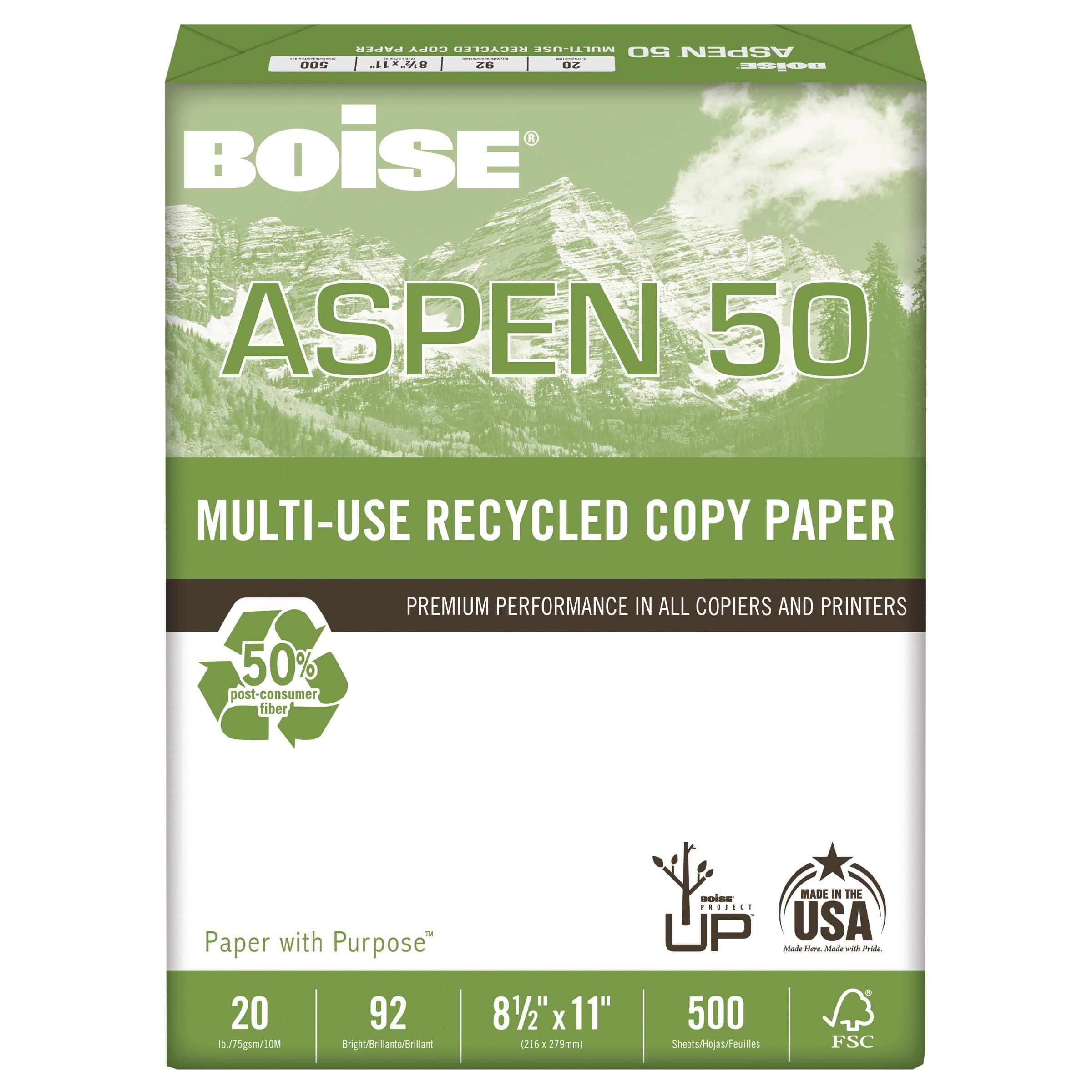 Boise ASPEN 50% Multi-Use Recycled Paper, 92 Bright, 20lb, 8 1/2 x 11, White