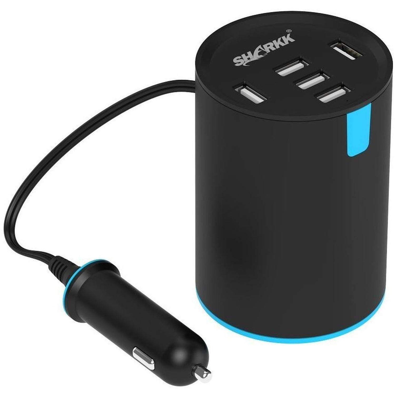 Sharkk 5-Port High-Speed Car Charger with Retractable Power Plug